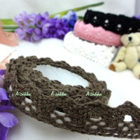 YTA004BRN Adhesive Sticker Single Trim Lace Fabric Tape Brown