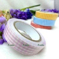 YTA005PNK Roll Adhesive Sticker Fabric Tape Pink Checker