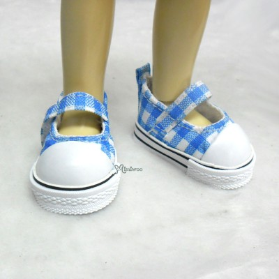 Yo-SD 1/6 bjd Doll MCC Maryjane Denim Shoes Checker Blue SHU052CBE