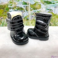 SHU073BLK Yo-SD 1/6 bjd Doll Shoes Double Strap Boots Black