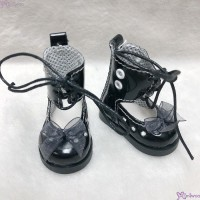 SHU074BLK Mimiwoo Yo-SD 1/6 bjd Doll Shoes Lace Hole Boots Black