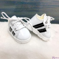 Yo SD 1/6 bjd Doll Shoes Sport Running Sneaker White with Black Stripe (Foot 4.5cm) SHU082WBK